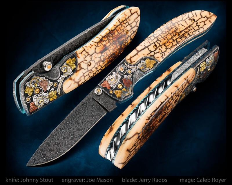 My popular double action automatic folder with a Jerry Rados, 3 3/8 inch Turkish Twist Damascus blade, Robert Eggerling mosaic damascus bolsters engraved with 24 karet gold and pure copper inlay by Joe Mason... exhibition grade museum fit crackle mammoth ivory scales, and fileworked backspacer and liners. Overall length is 7 5/8 inches. This one has been sold, I am accepting orders on a similar model.