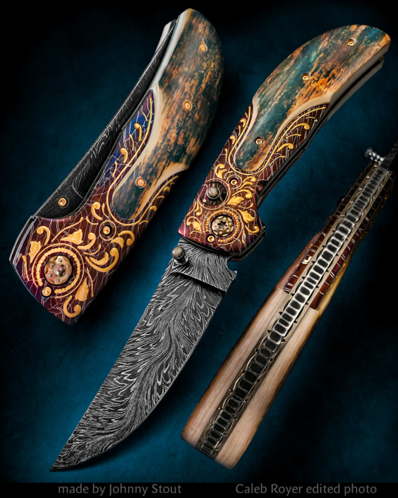 "SOLD . The ""Amigo"" Double Action Automatic Folder, fitted with a 3 1/2"" River of Fire Damascus blade, Florentine style engraved bolsters by Joe Mason, Presentation grade blue/green mammoth ivory scales. Click on image for a hi-res view."
