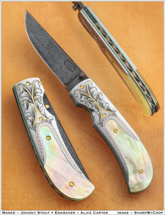 "SOLD. The ""Zenith"". My newest Linerlock Fine Folder, fitted with a 3"" blade of Doug Ponzio's Turkish Twist Damascus, engraved bolsters by Alice Carter, and fitted with Presentation grade Goldlip Mother of Pearl."