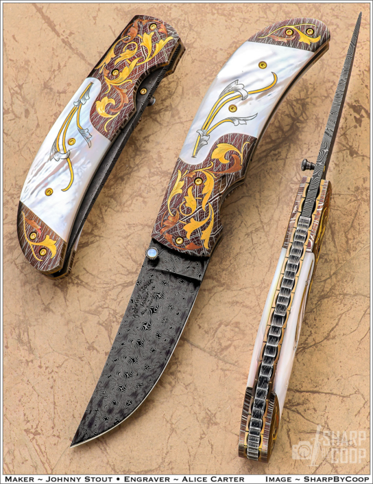 """The """"Compadre"""". This prototype Linerlock folder is fitted with a 3"""" Doug Ponzio, Turkish Twist Damascus blade, nitre blued Robert Eggerling Mosiac Damascus Bolsters, beautifully engraved by Alice Carter, with inlaid copper and 24k gold. The Mother of Pearl scales are also engraved by Alice Carter. Price $5950.00. Click on image for a hi resolution view."""