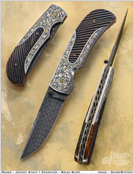 """SOLD - The """"Zenith"""". Fitted with a 3"""" Turkish Twist Damascus blade forged by Doug Ponzio, engraved 416 SS bolsters engraved by Brian Bump, and fluted mammoth ivory scales. Click on image for hi res picture."""